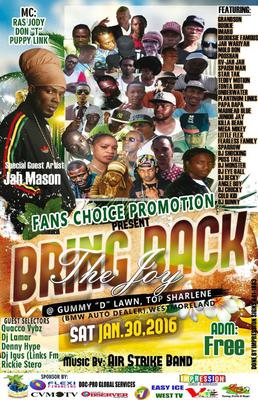 Jah wariyah Slated to perform @ Bring back the Joy