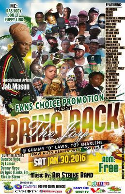 Jah wariyah Slated to perform @ Bring back the Joy