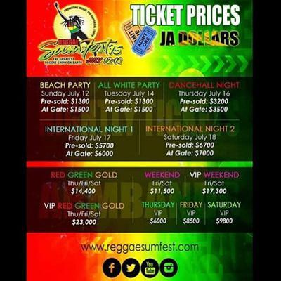 Reggae Sumfest Tickets Prices - Reggae sumfest
