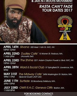 Rasta Can't Fade Tour Spring 2017