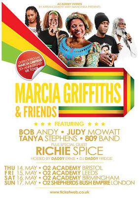 MARCIA GRIFFITHS AND FRIENDS 50th TOUR HALTS IN ENGLAND!